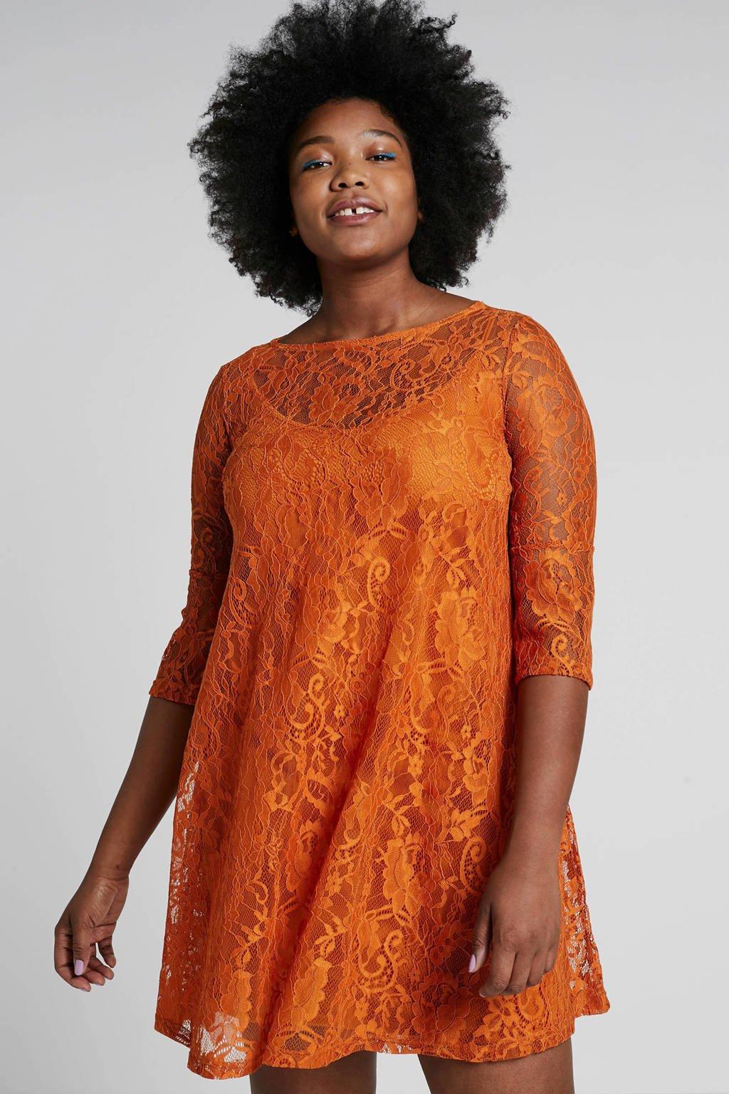 ONLY carmakoma kanten jurk, Oranje