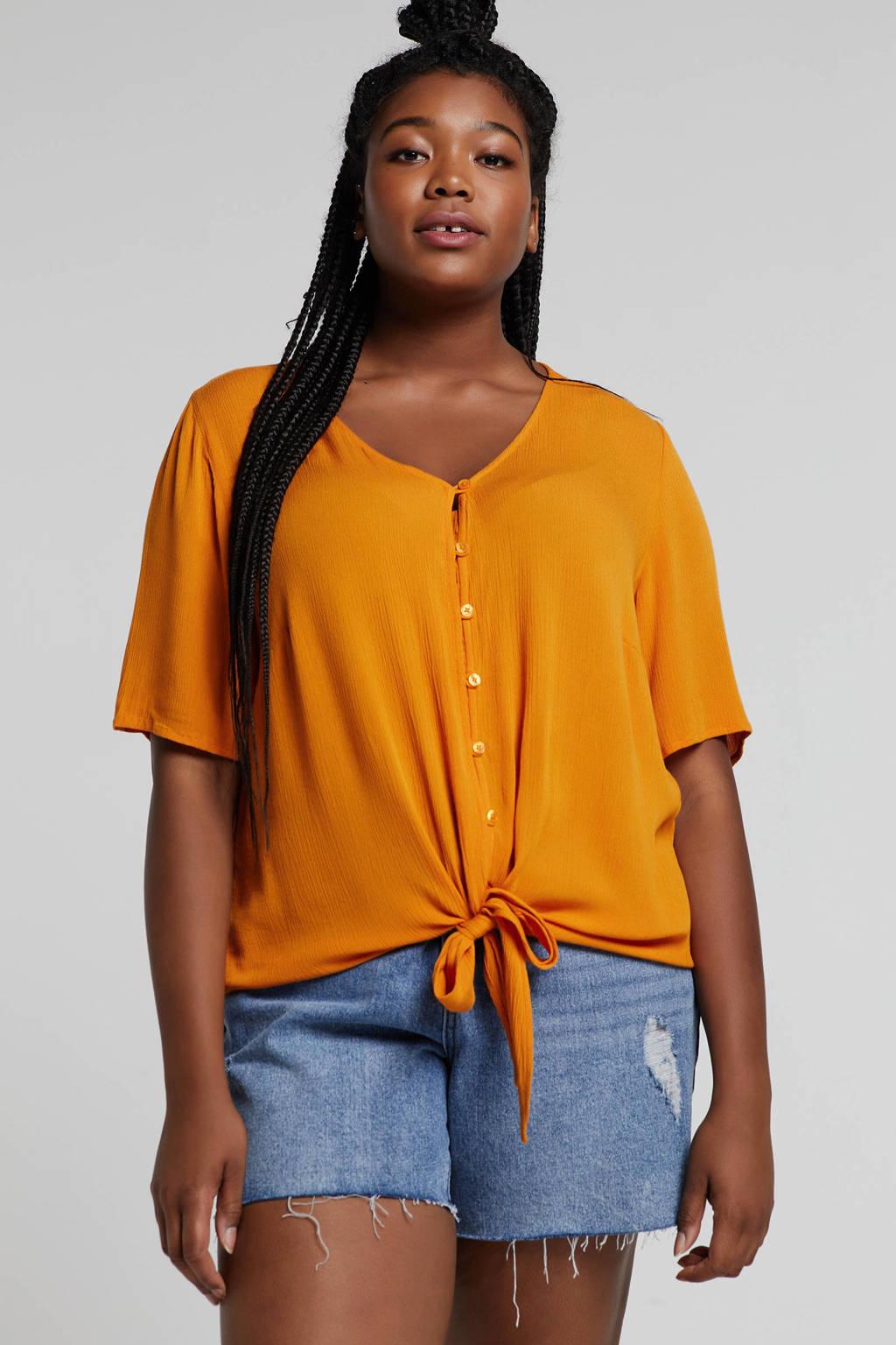 ONLY carmakoma blouse met strikdetail oranje, Oranje