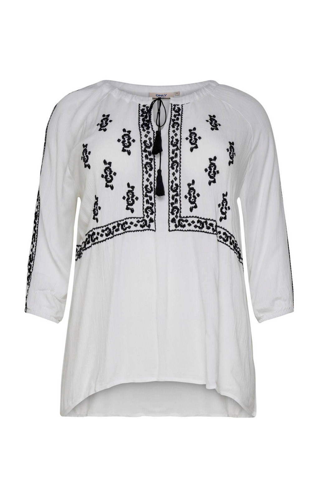 ONLY carmakoma top met borduursels wit, Wit/zwart