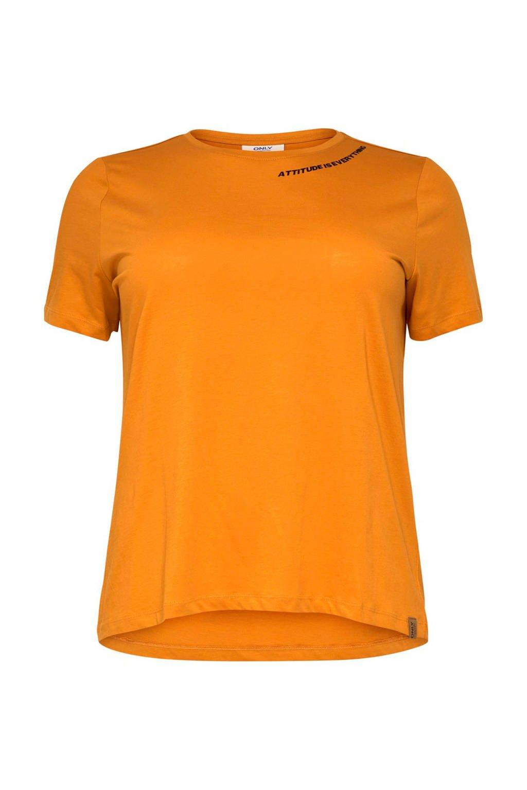 ONLY carmakoma loose fit T-shirt oranje, Oranje