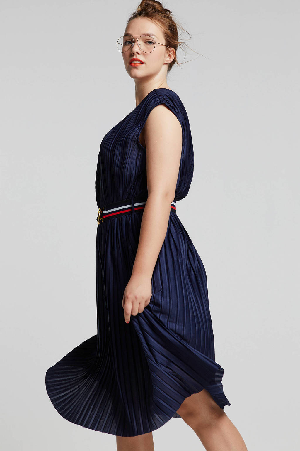 ONLY carmakoma plissé jurk donkerblauw, Donkerblauw