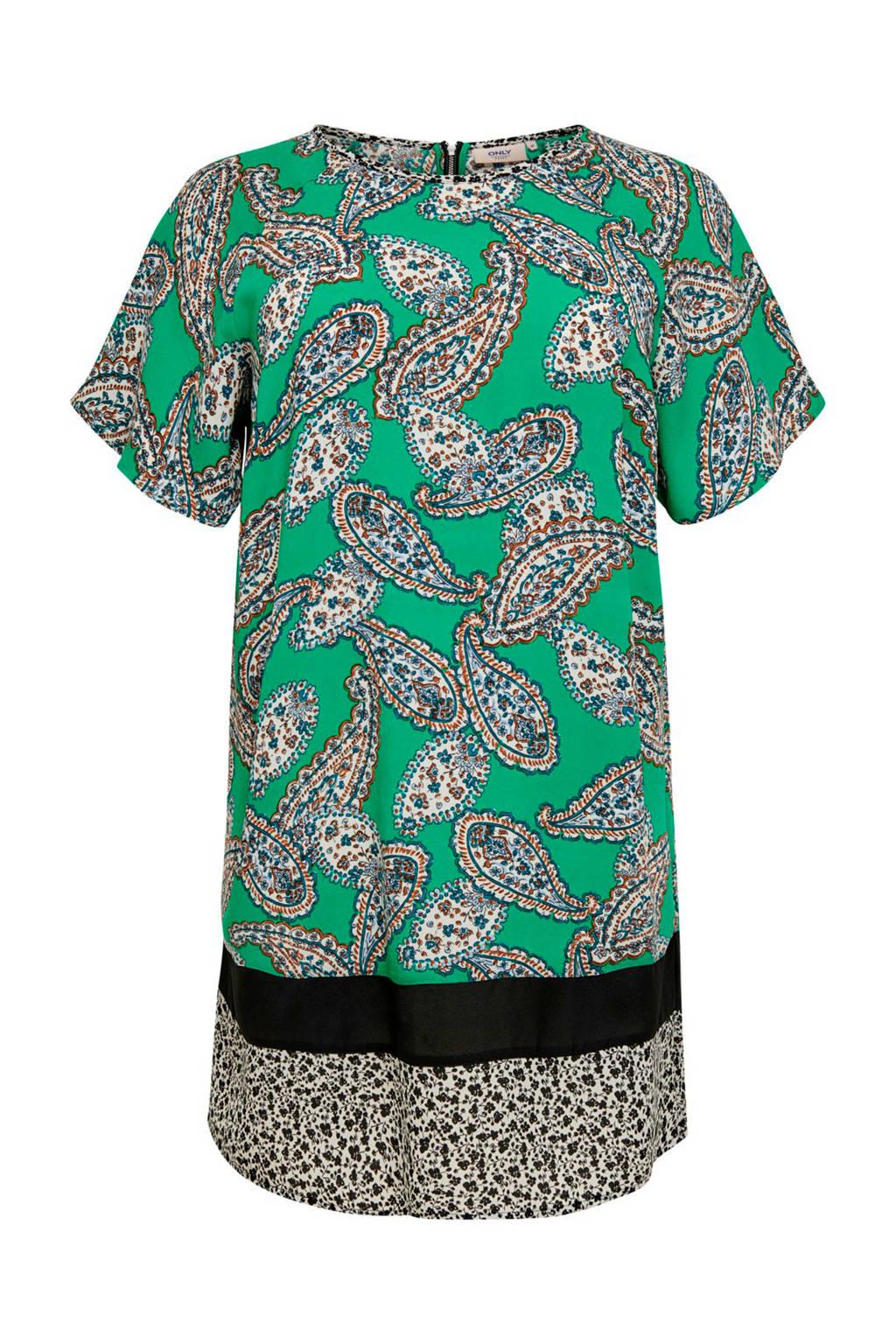 ONLY carmakoma jurk met paisley print groen, Groen