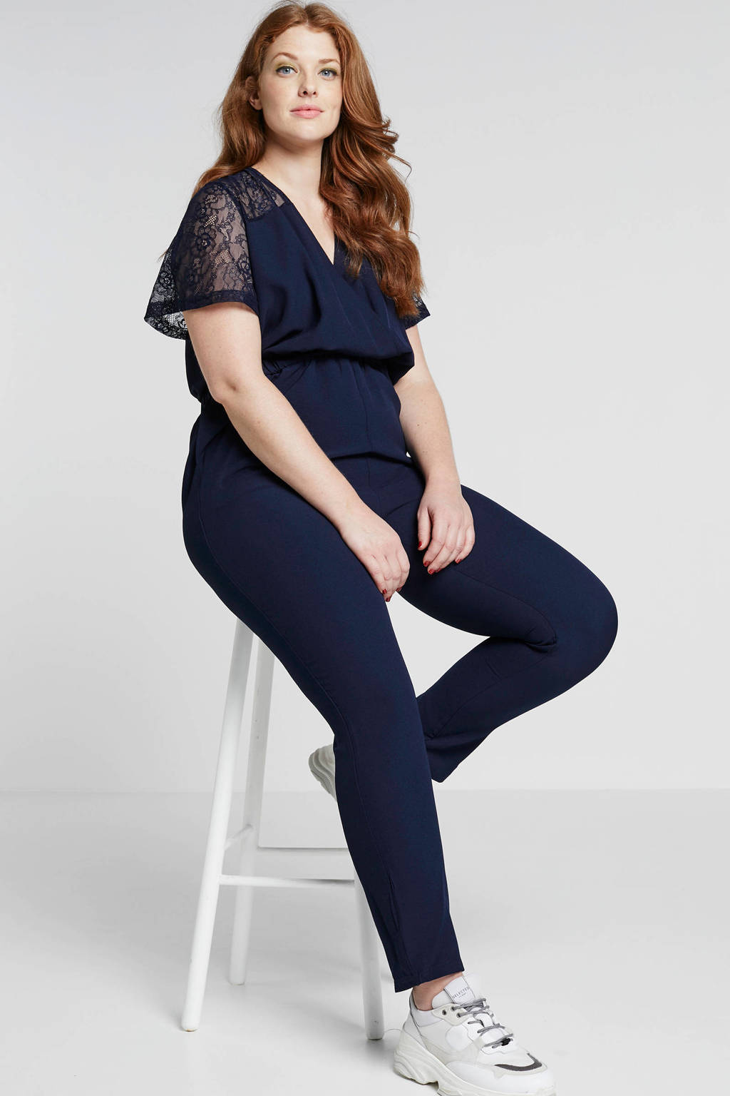 ONLY carmakoma jumpsuit donkerblauw, Donkerblauw