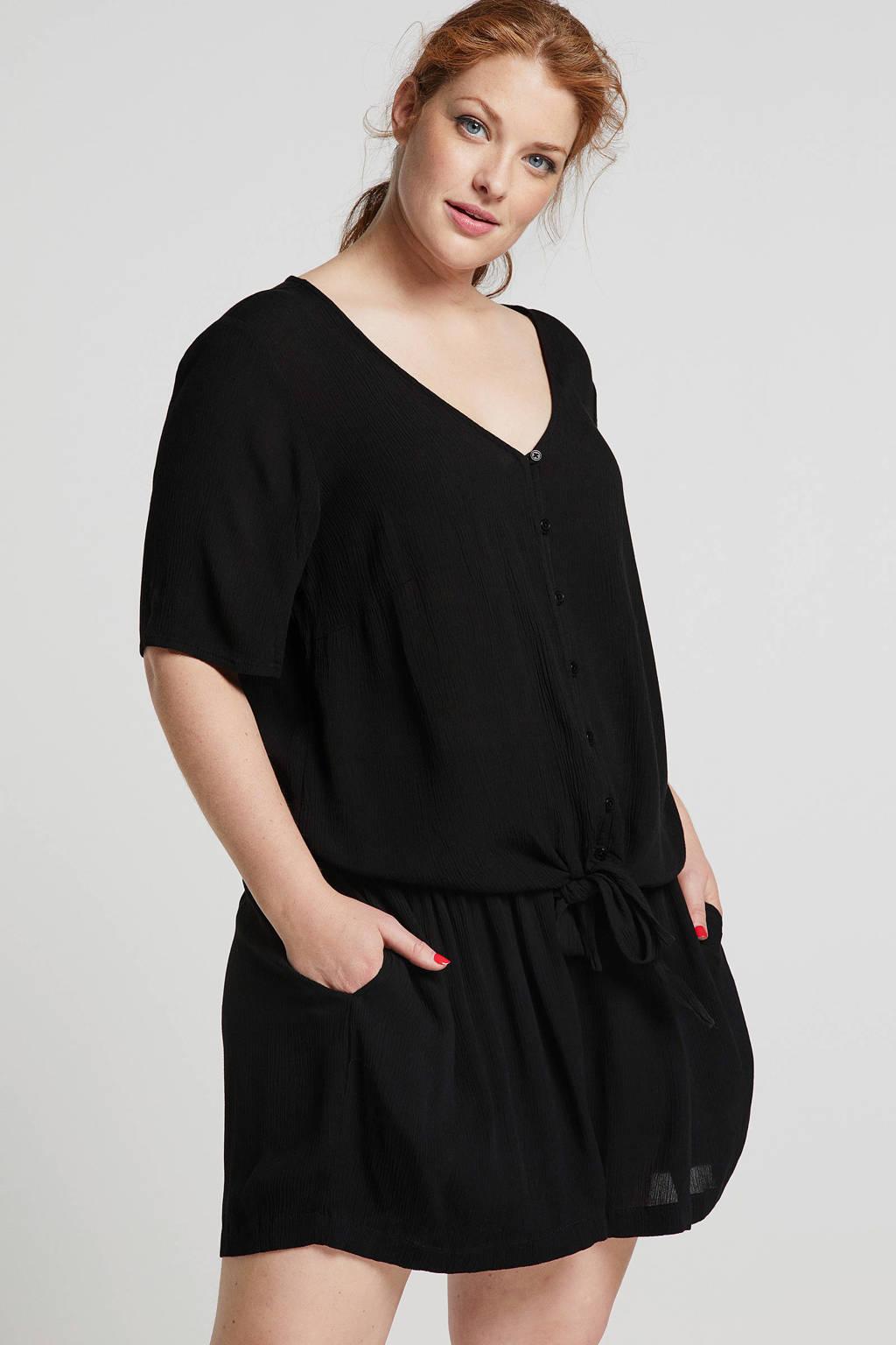 ONLY carmakoma blouse met strikdetail zwart, Zwart