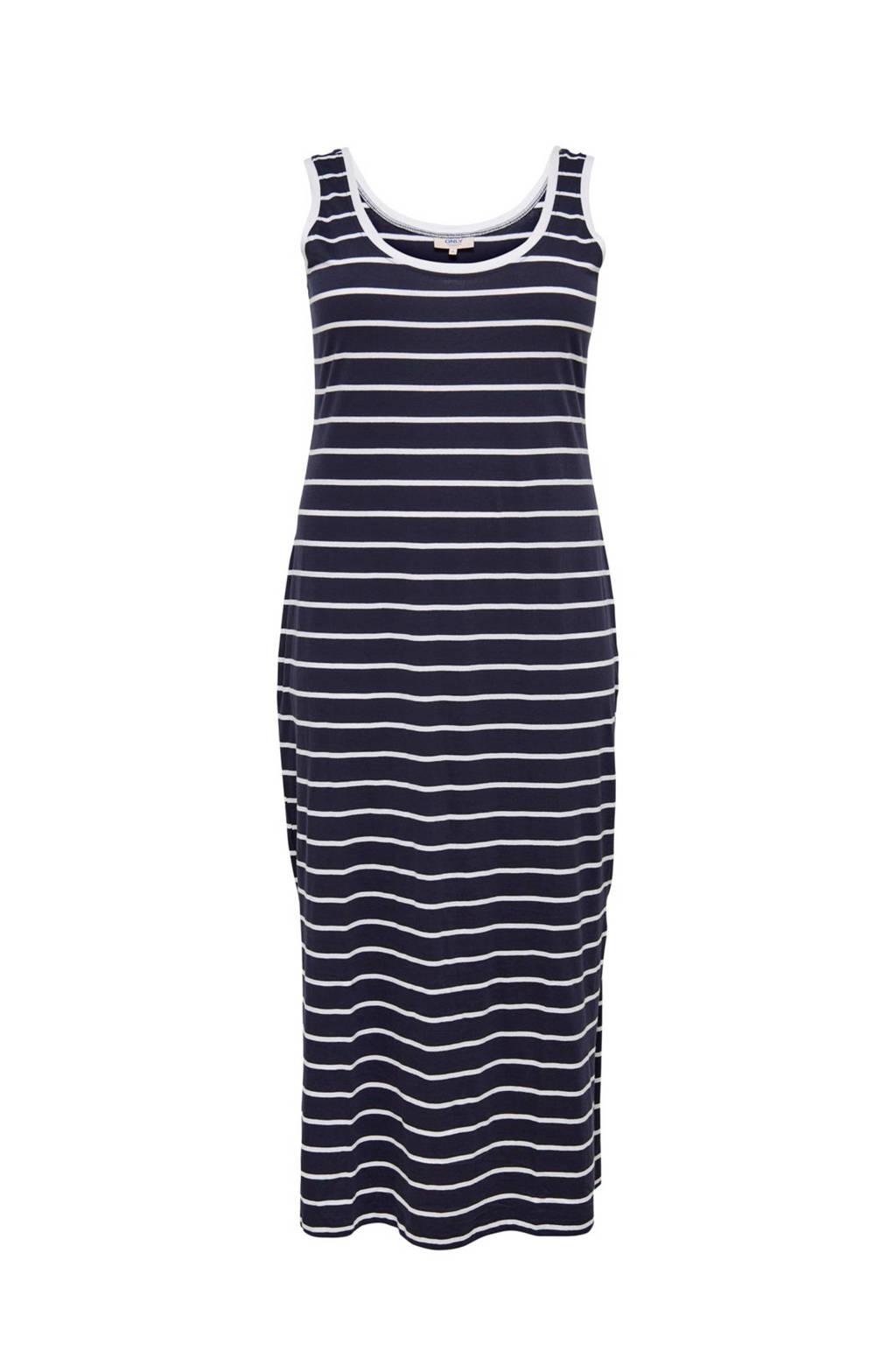 ONLY carmakoma gestreepte maxi jurk donkerblauw, Donkerblauw/wit