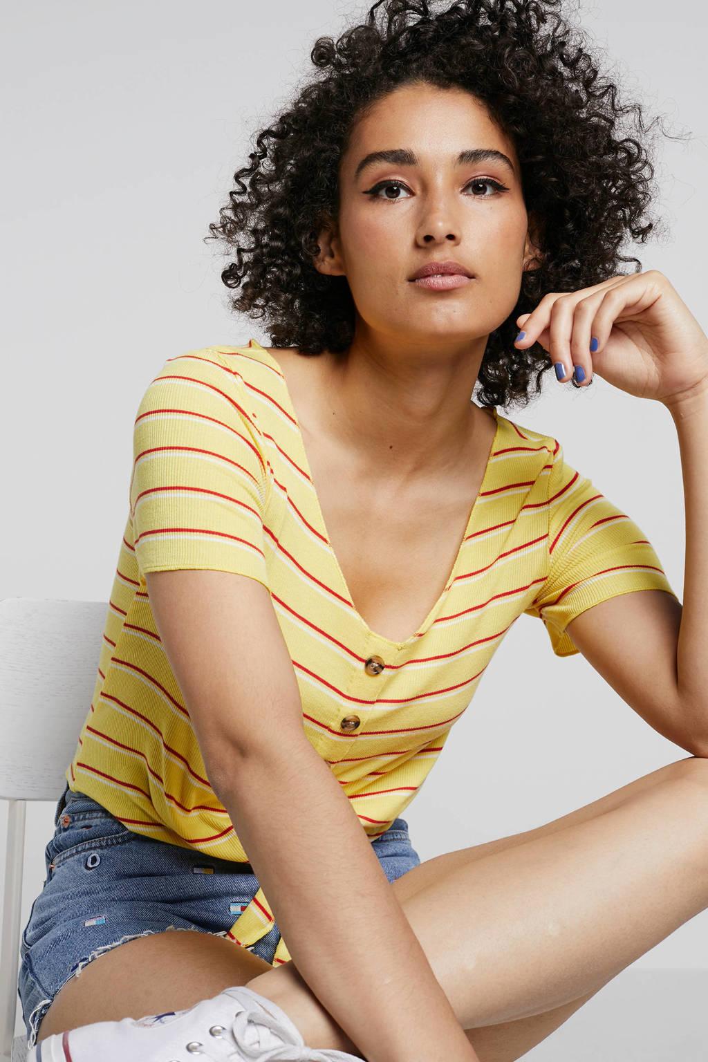 ONLY gestreepte top met knoopdetail, Geel/rood/wit