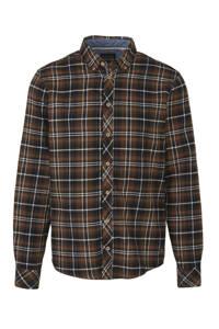 Blend geruit regular fit overhemd bruin/zwart, Bruin/zwart