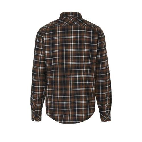 Blend geruit regular fit overhemd bruin/zwart