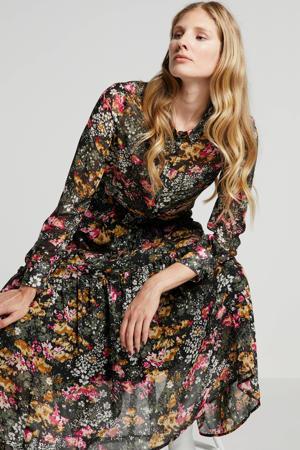 gebloemde semi-transparante blouse Kairal van gerecycled polyester zwart multi