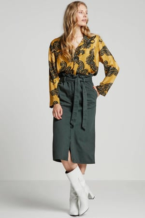 top Keelial met all over print geel/groen