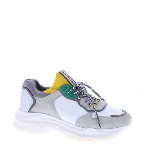 Bronx Baisley leren sneakers wit/geel