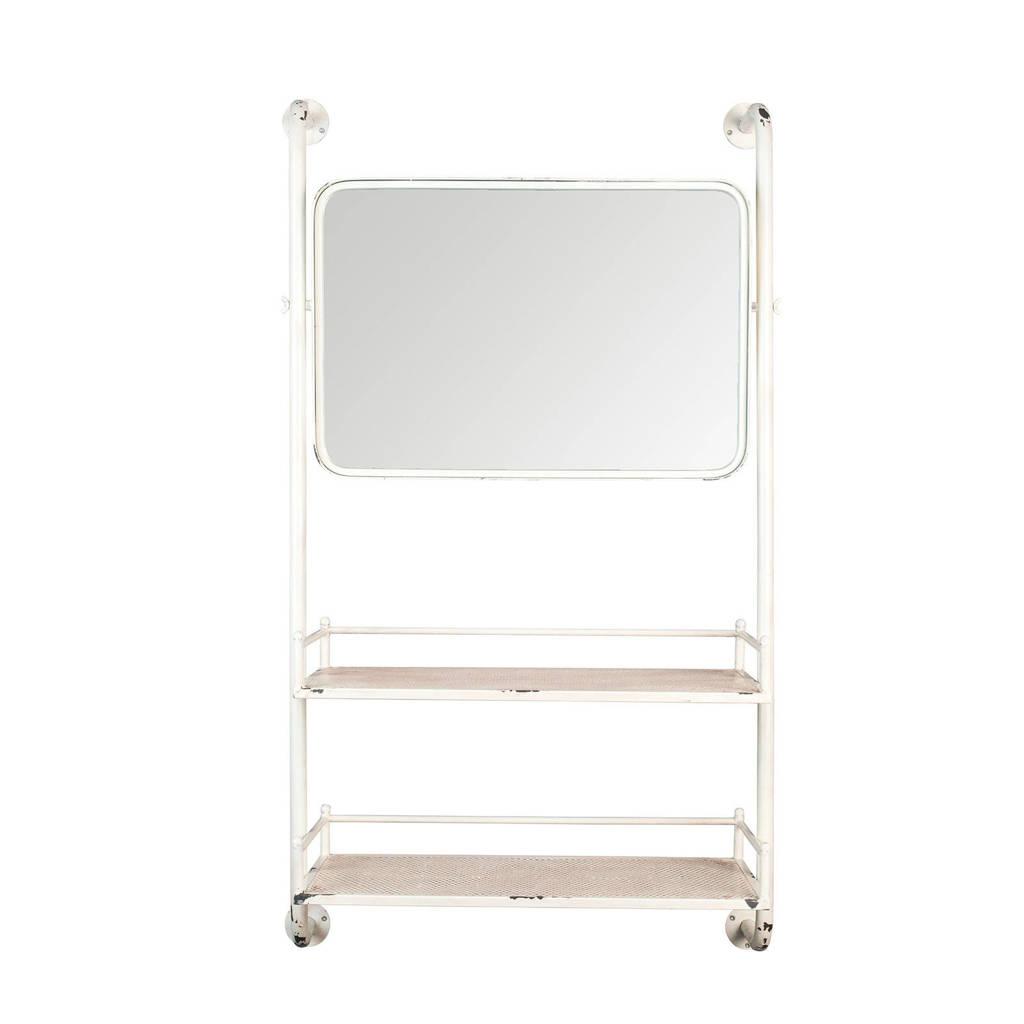 Dutchbone wandkast met spiegel Barber, Wit