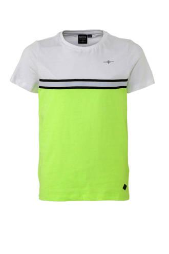 T-shirt Todd met horizontale gestreepte bies neon geel