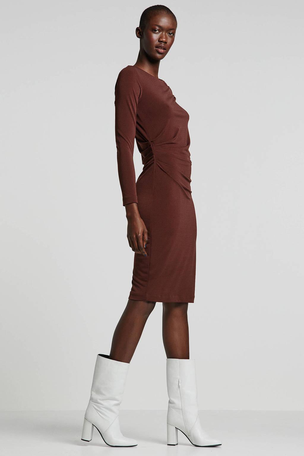 Inwear jurk met plooien bruin, Bruin