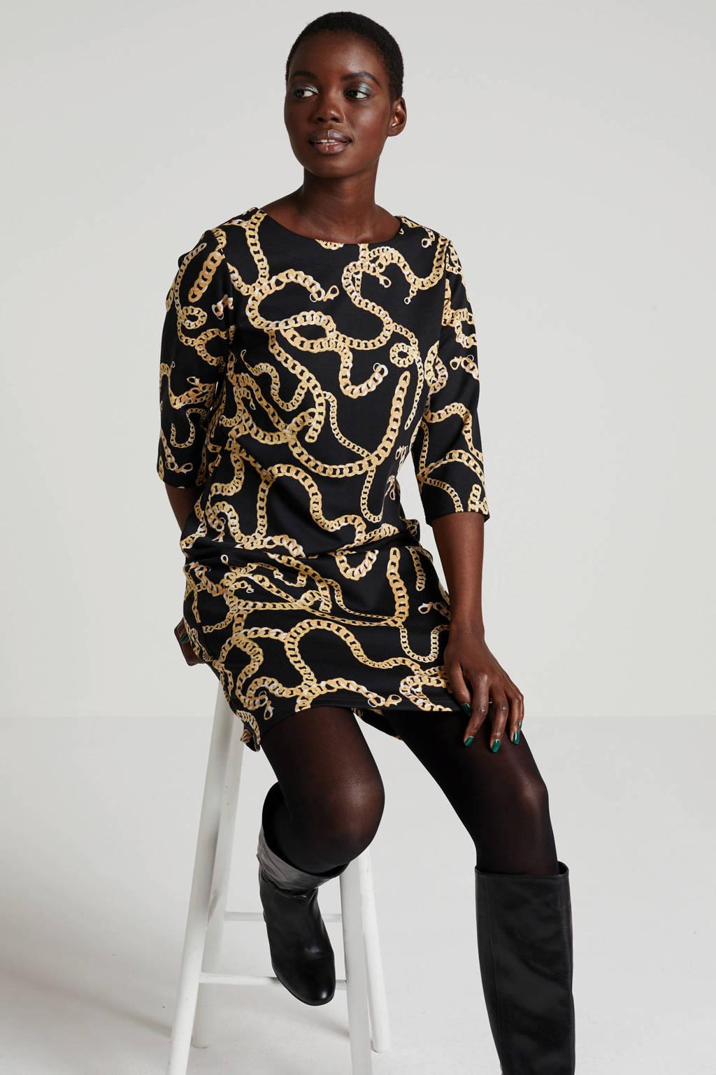FREEQUENT jurk met all over print zwart/goud, Zwart/goud