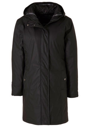 coated winterjas zwart
