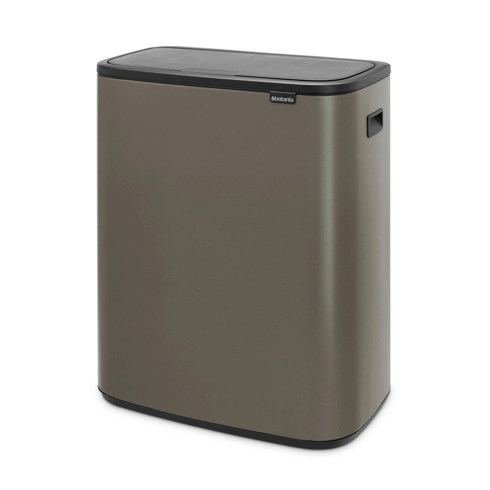 Brabantia Afvalemmer Touch Bin 50 Liter.Bo Touch Bin Afvalemmer 2 X 30 Liter