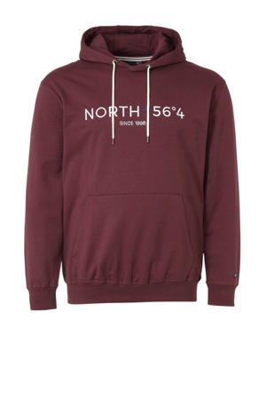 +size hoodie met tekstopdruk rood