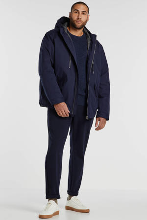 +size winterjas marine