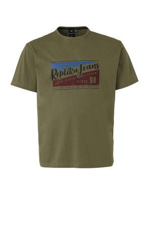 +size T-shirt met printopdruk olijfgroen