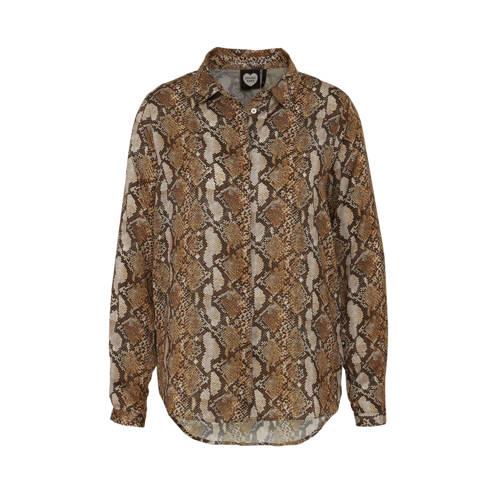 Catwalk Junkie blouse met slangenprint bruin