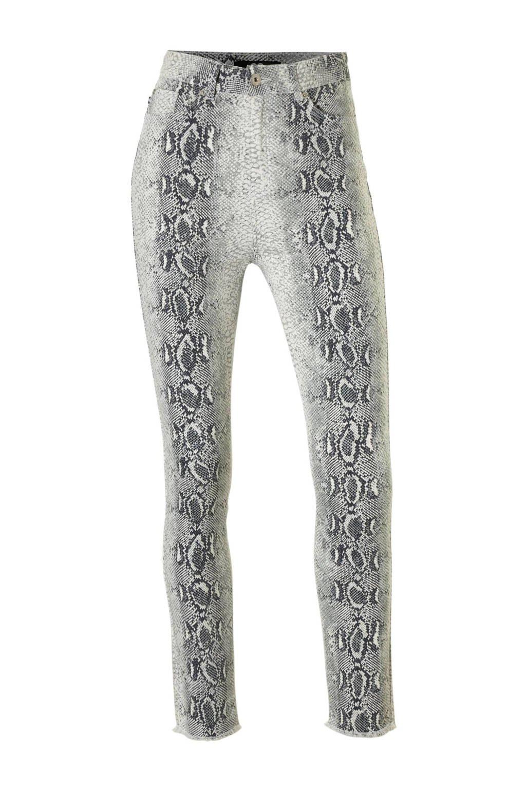 Catwalk Junkie slim fit broek met slangenprint ecru, Ecru