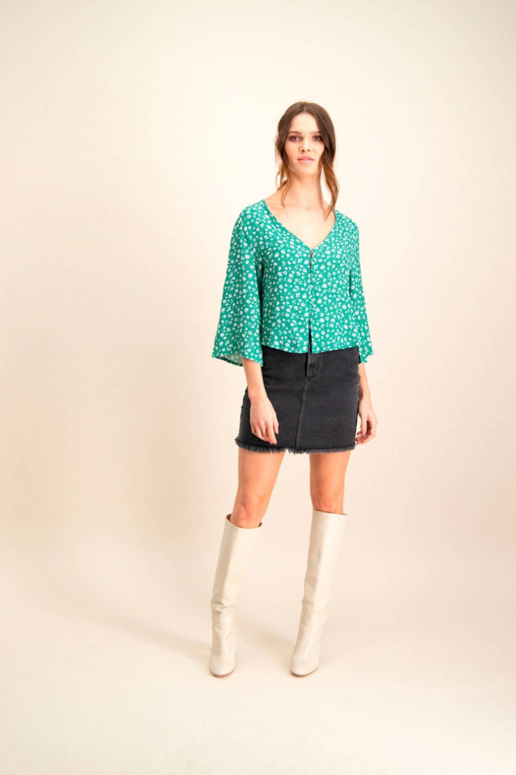 Catwalk Junkie gebloemde blouse Paloma groen, Groen