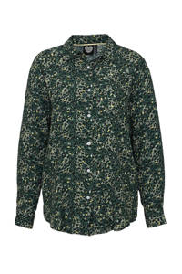 Catwalk Junkie blouse met all over panterprint groen, Groen