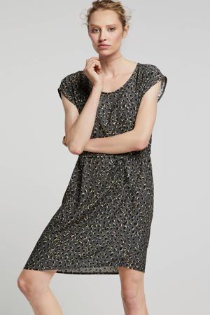 jersey jurk Penny met all over panterprint grijs