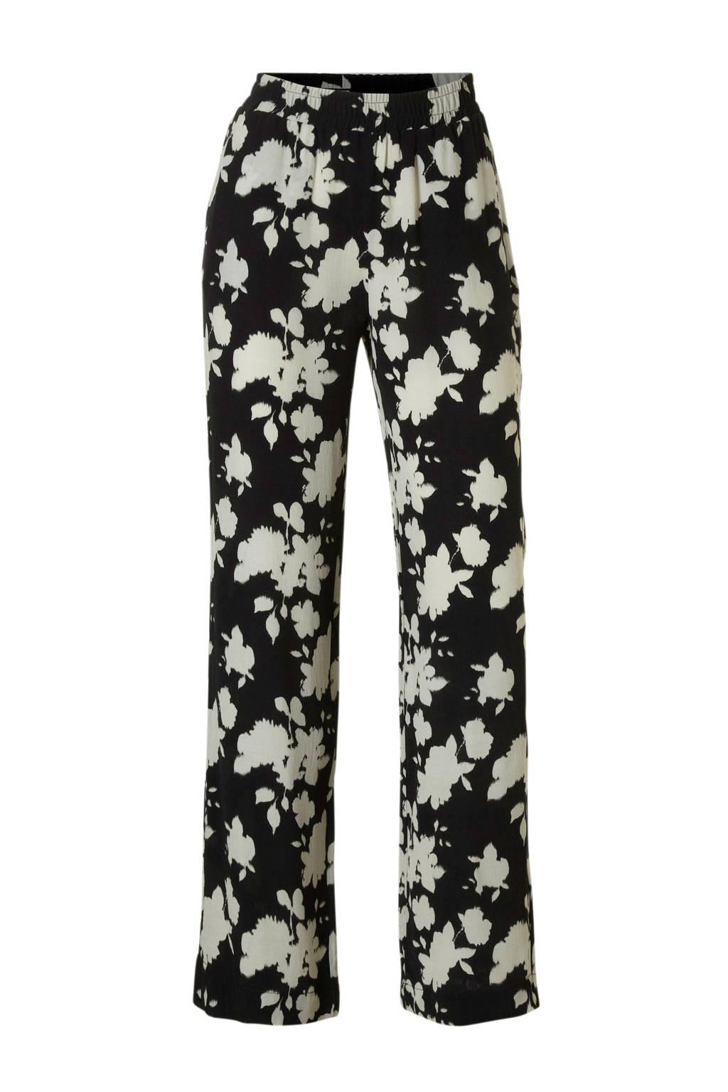Catwalk Junkie gebloemde regular fit broek zwart/wit, Zwart/wit