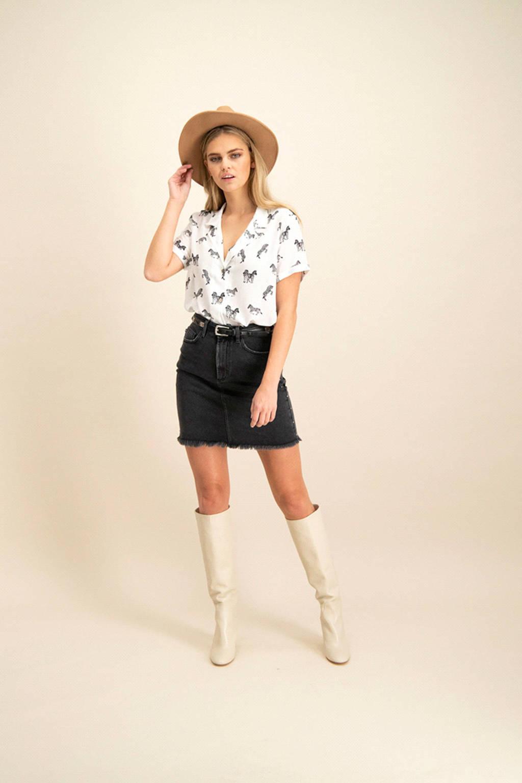 Catwalk Junkie blouse met zebraprint wit, Wit