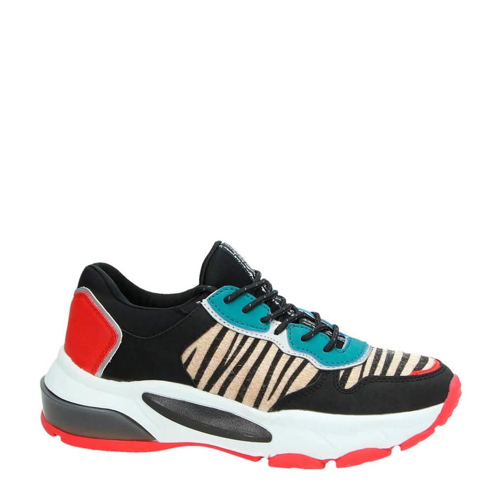 PS Poelman  sneakers zwart, Zwart/rood