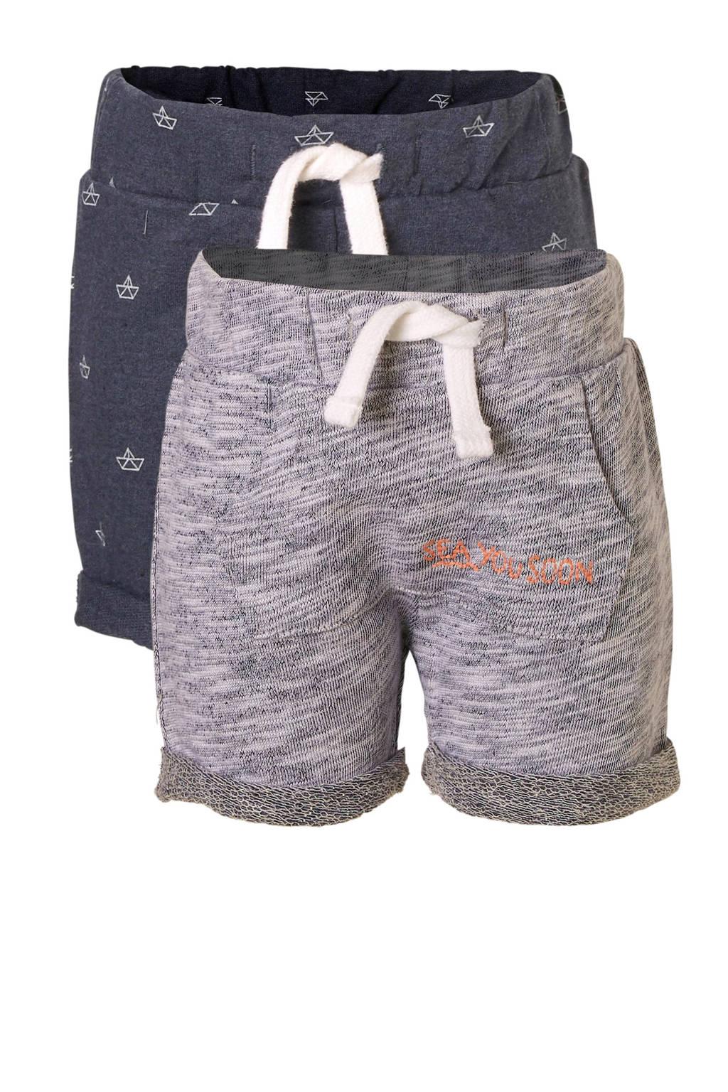 C&A Baby Club sweatshort met all over print grijs/donkerblauw, Grijs/donkerblauw