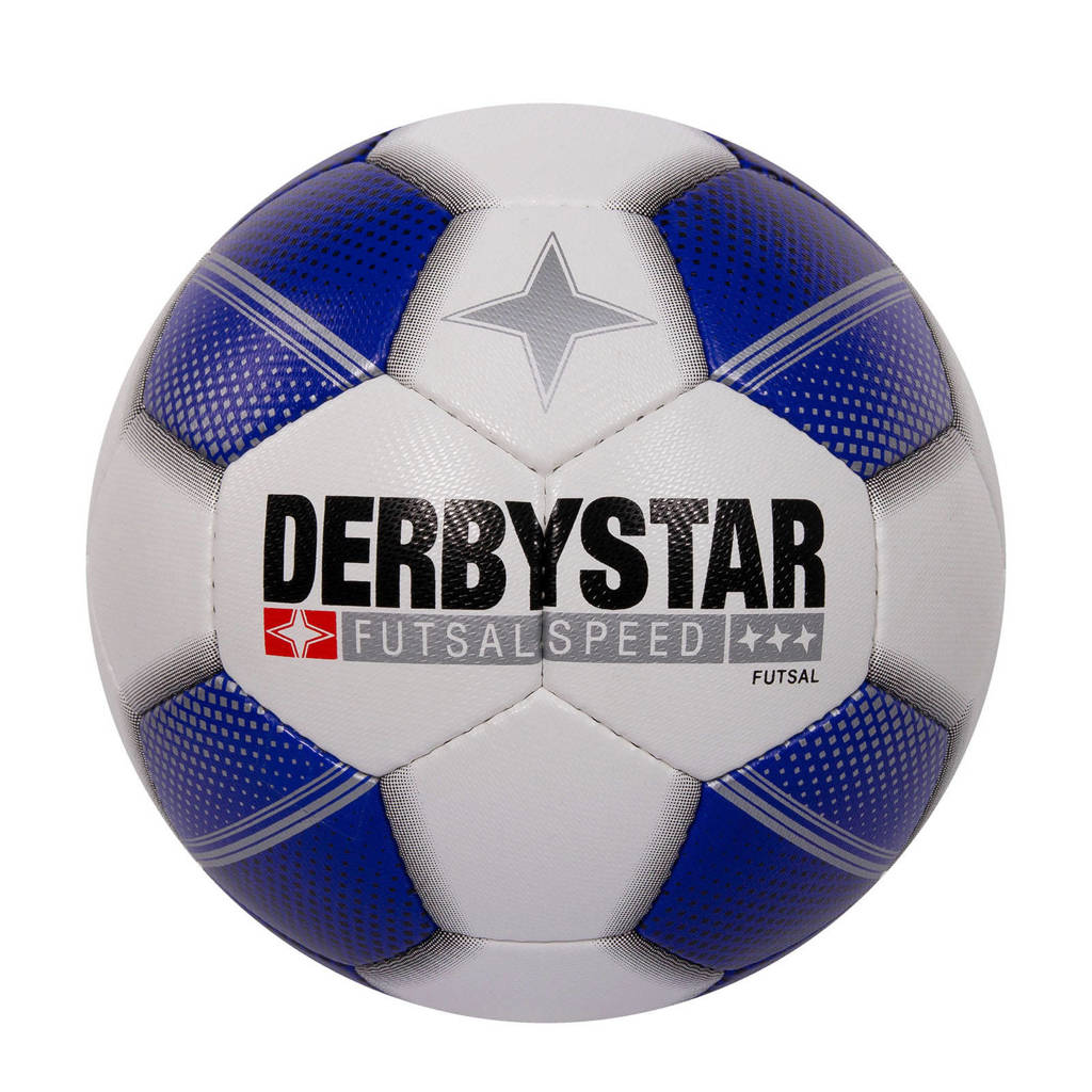 Derbystar   voetbal indoor maat 4, Wit/blauw