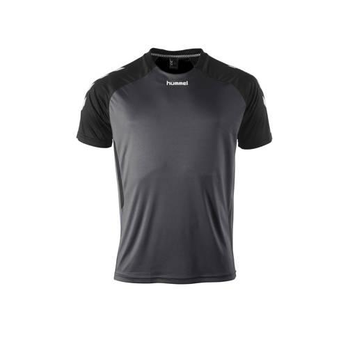 hummel Senior sport T-shirt Aarhus antraciet/zwart
