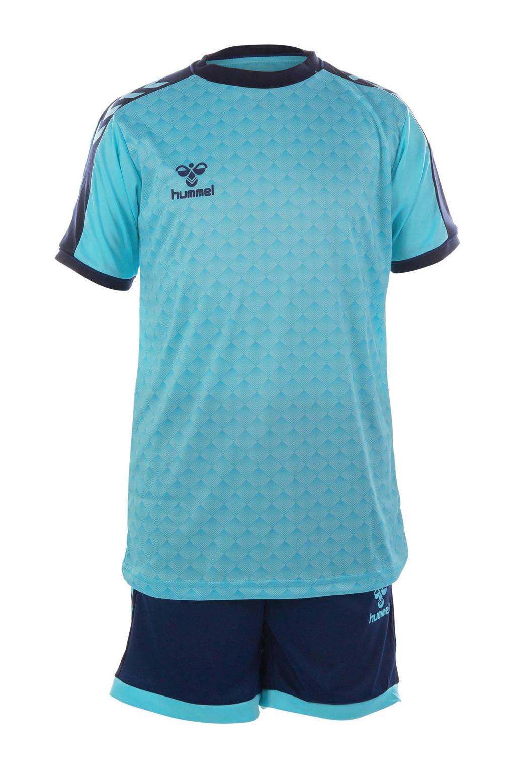 hummel   sport T-shirt + short, Donkerblauw/lichtblauw