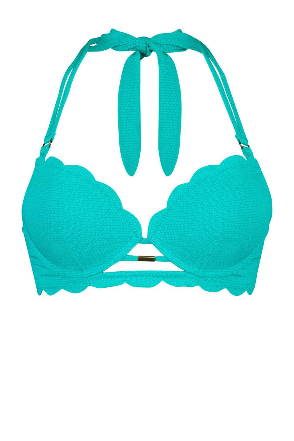 Hunkemöller voorgevormde push-up beugel bikinitop Scallop dreams aqua blauw, Aqua blauw