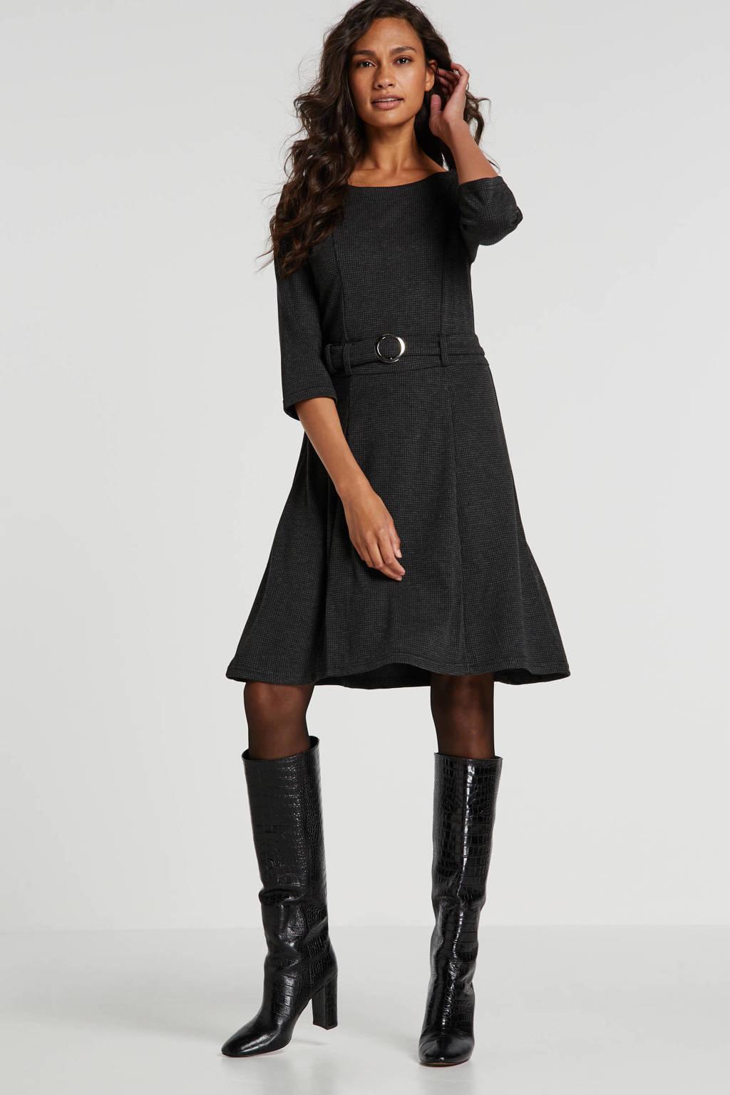 FREEQUENT A-lijn jurk met pied-de-poule en ceintuur grijs/zwart, Grijs/zwart