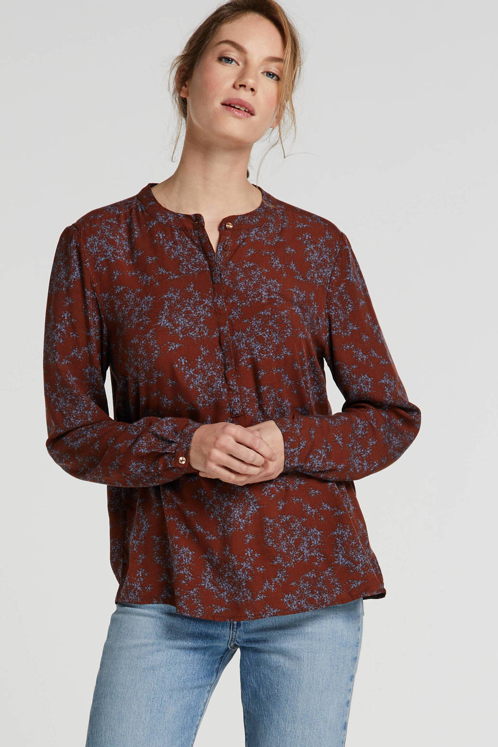 FREEQUENT top met all over print bruin/lila, Bruin/lila