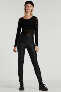 FREEQUENT coated high waist skinny tregging zwart, Zwart