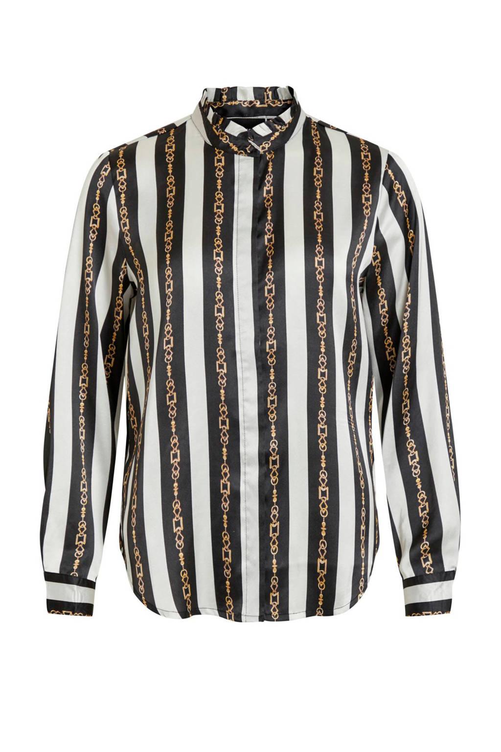 OBJECT gestreepte satijnen blouse zwart/wit/goud, Zwart/wit/goud