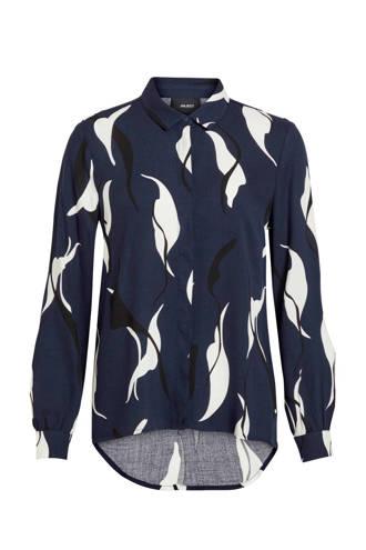 blouse met all over print donkerblauw/wit/zwart
