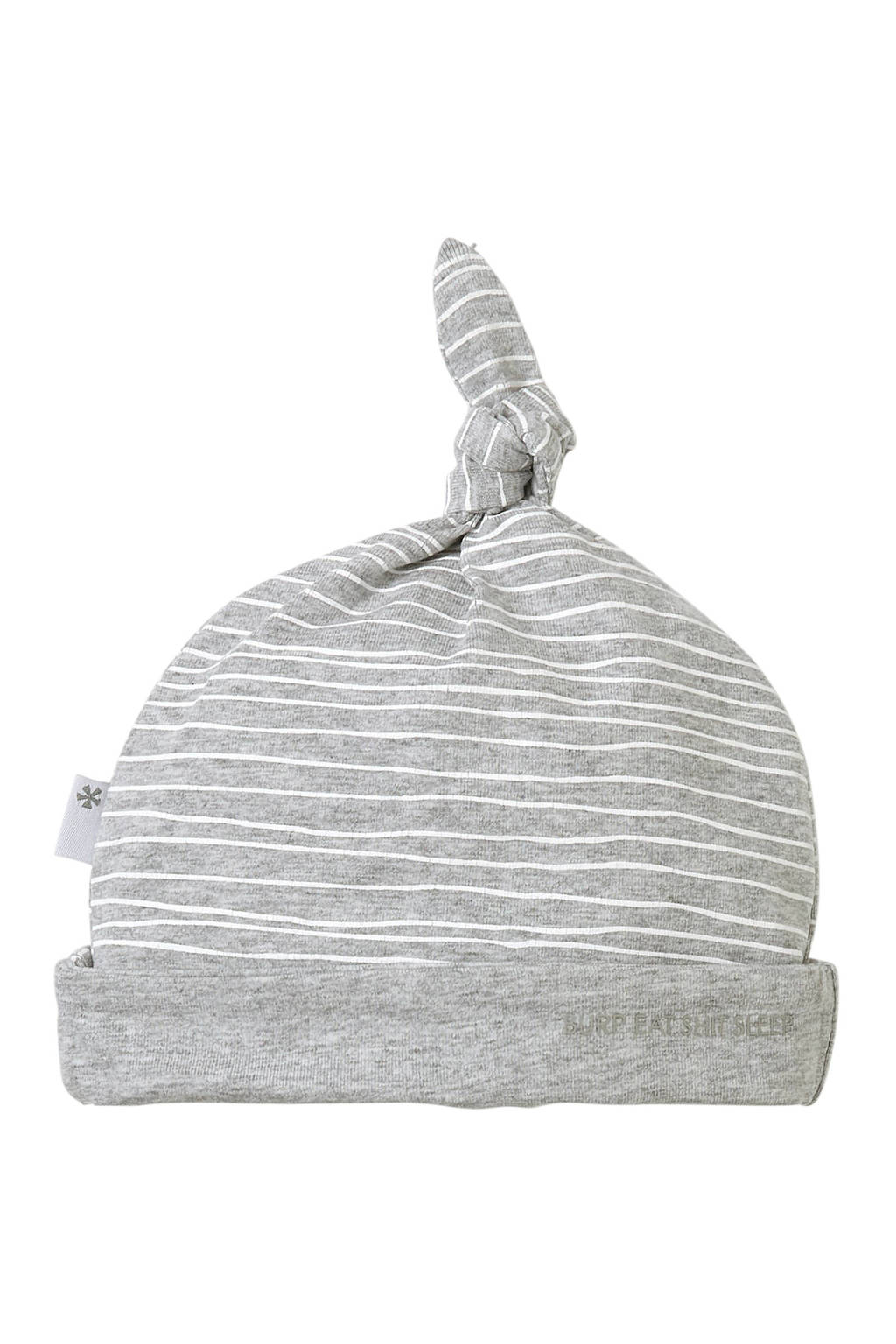 B.E.S.S gestreepte newborn babymuts grijs, Grijs/wit