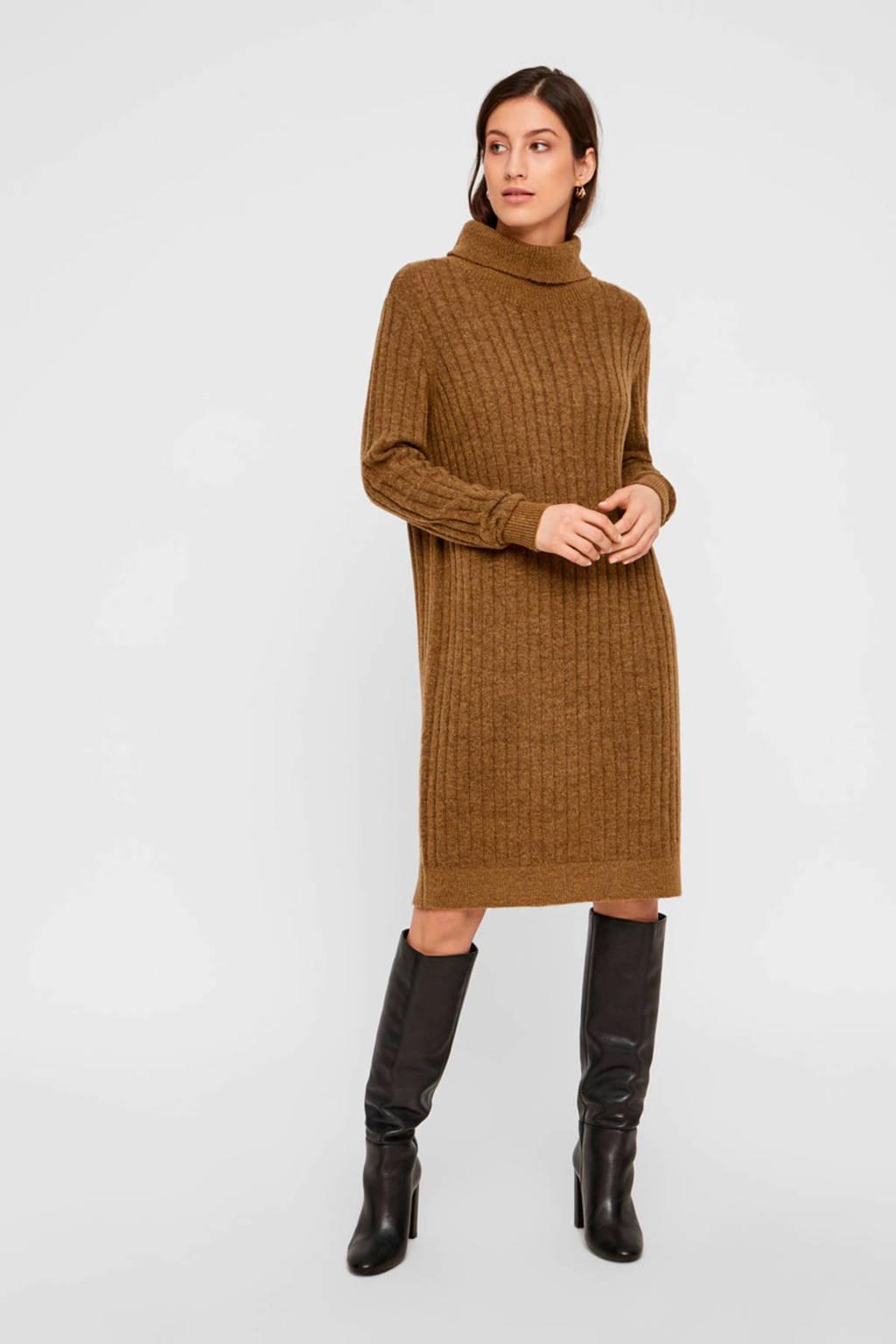 Y.A.S ribgebreide jurk mostergroen, Mosterdgroen
