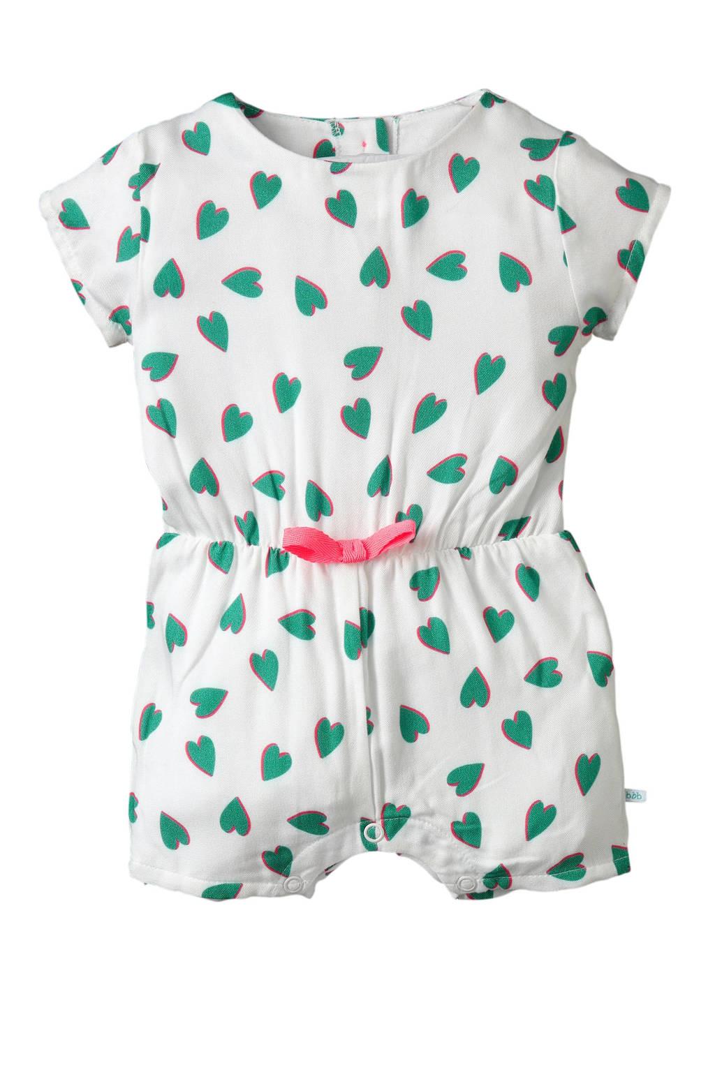 blablabla baby jumpsuit Gaila met hartjes wit/groen, Wit/groen