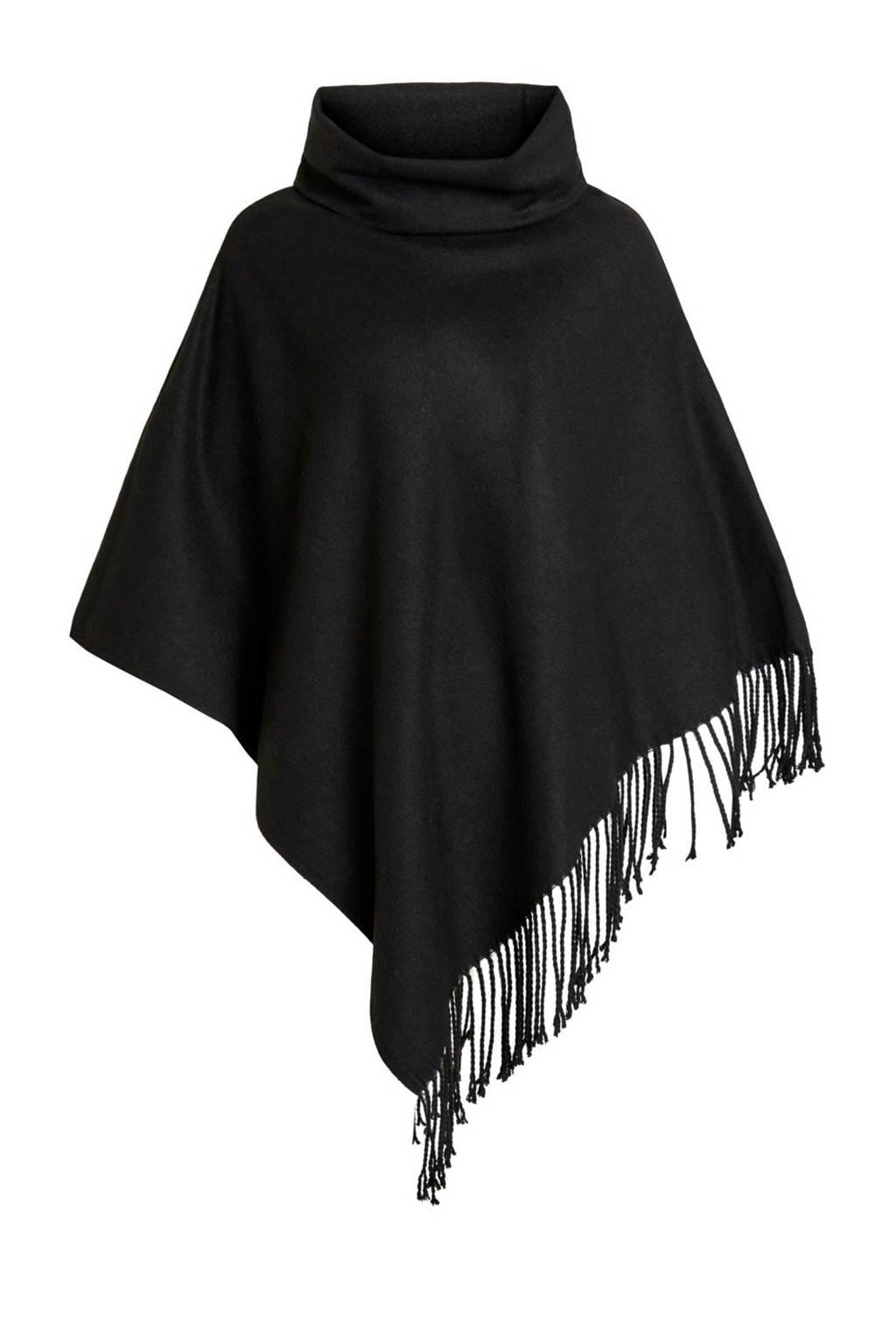 OBJECT wollen poncho Marilyn zwart, Zwart