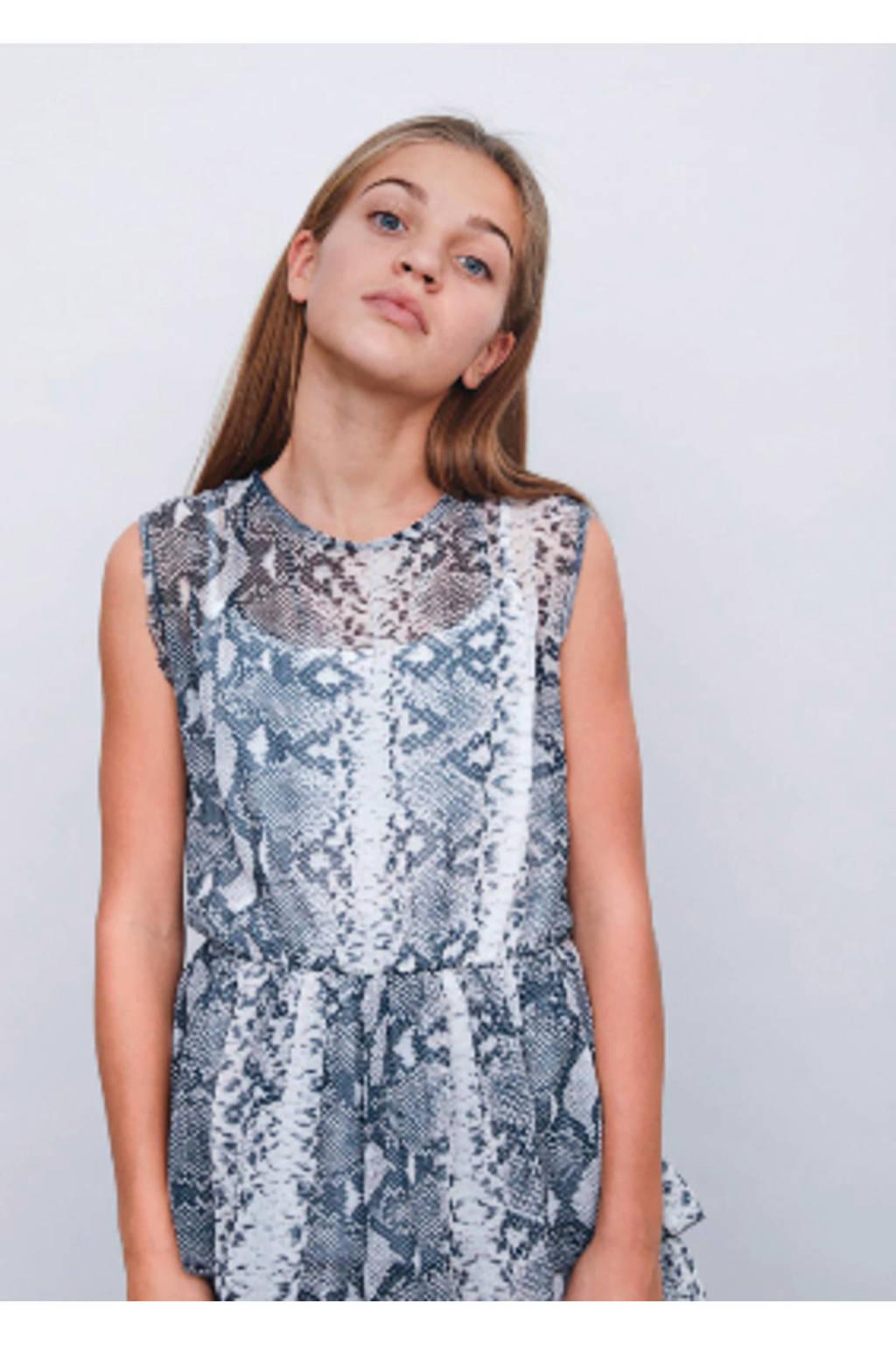 LMTD jurk Finor met slangenprint grijs, Grijs