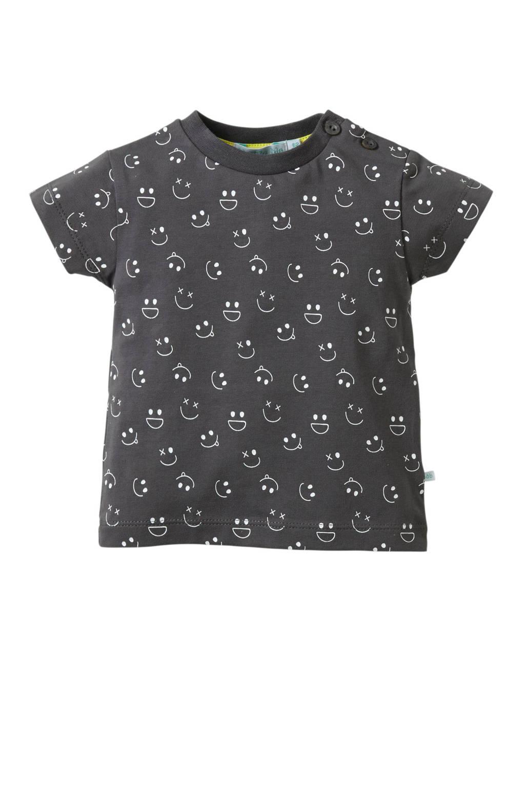 blablabla baby T-shirt Glow met all over print antraciet, Antraciet/wit