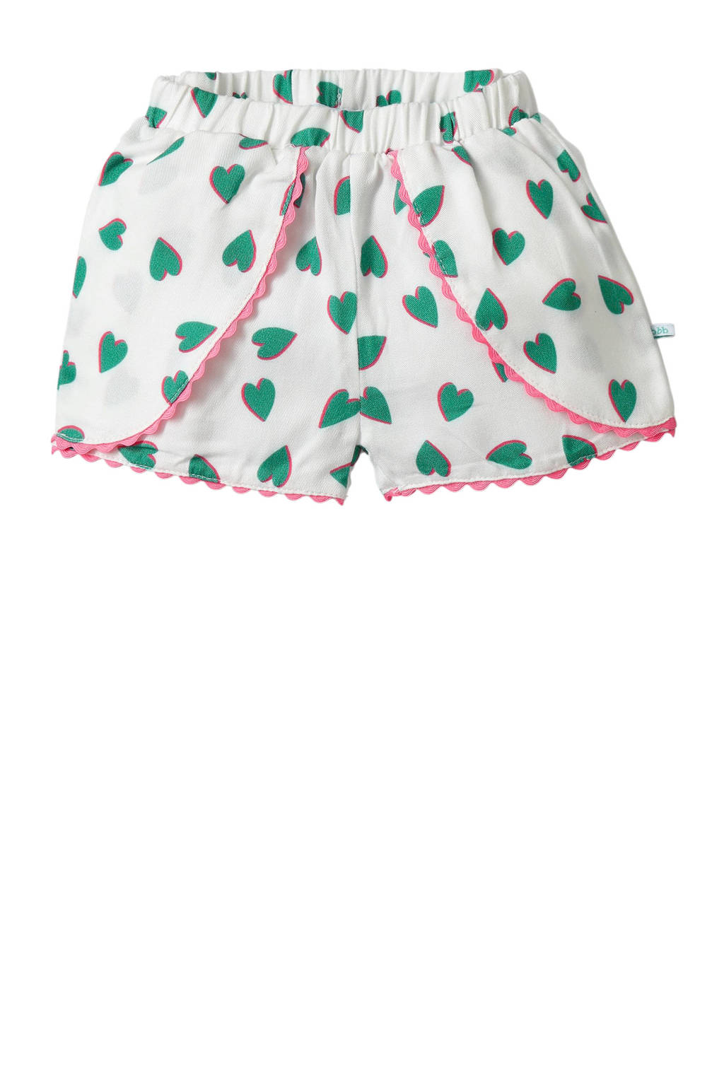 blablabla baby short Gaila met hartjes wit/groen/roze, Wit/groen/roze