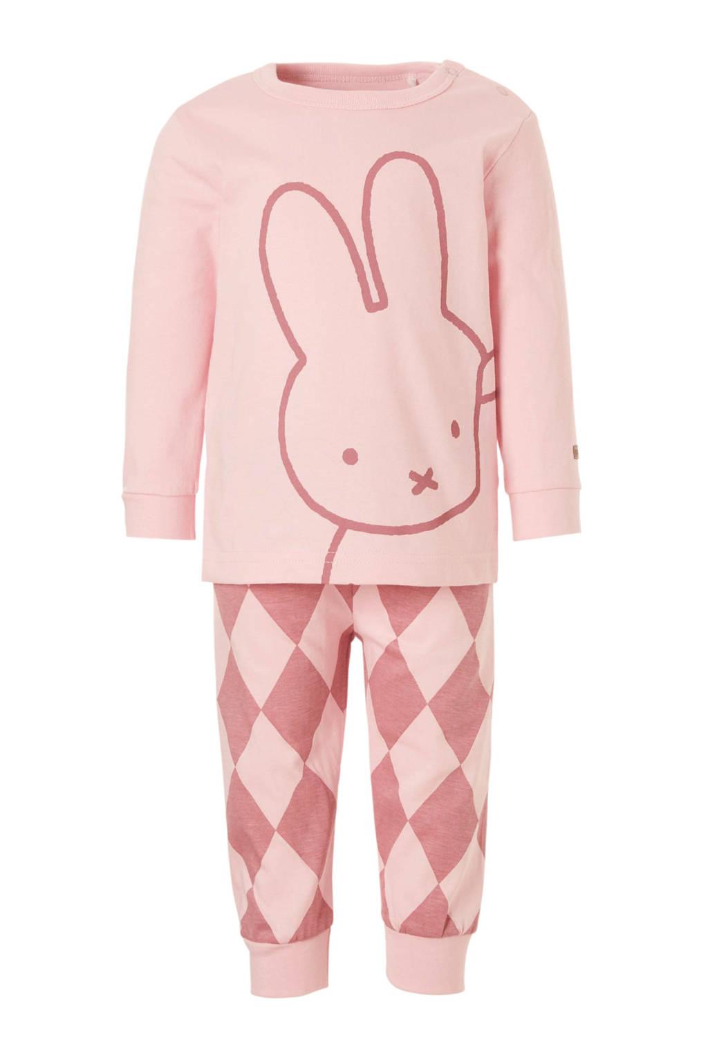 nijntje pyjama met print roze, Roze/donkerroze